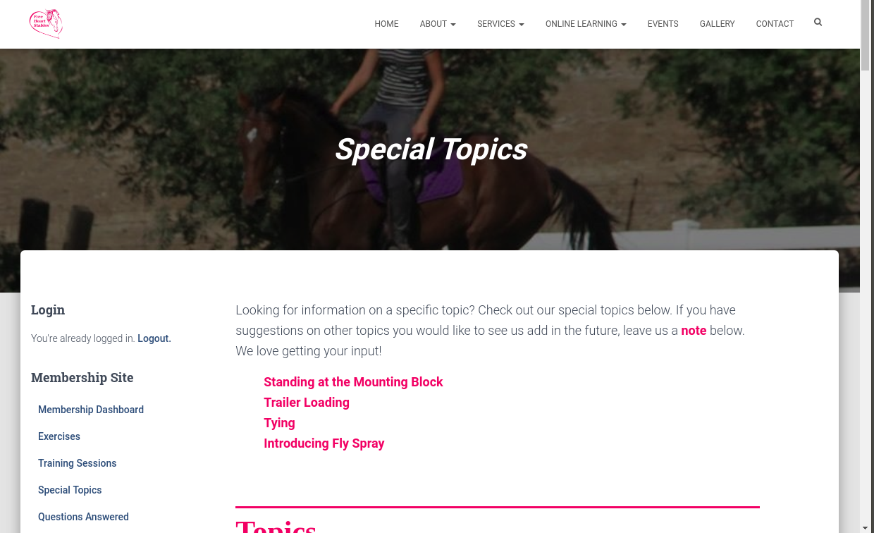 Special Topics Page - List of Topics