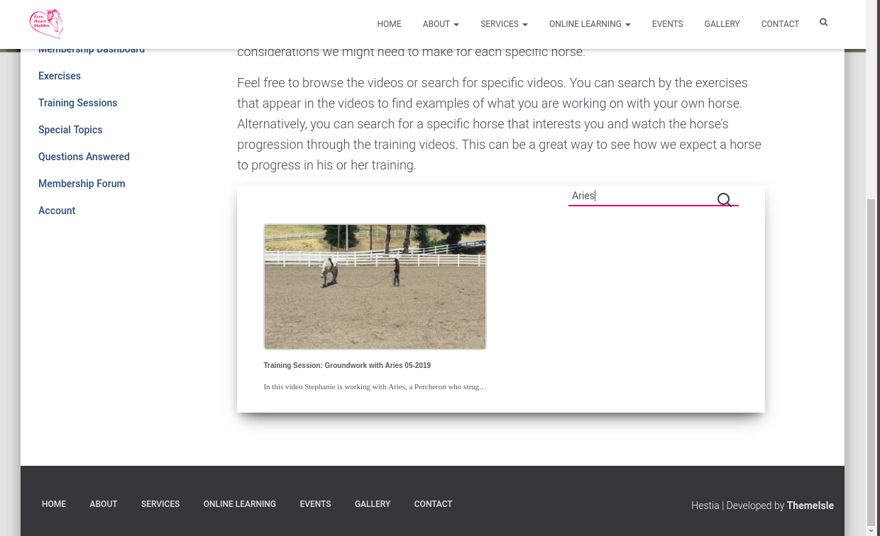 Full Length Training Sessions Page - Search By Horse